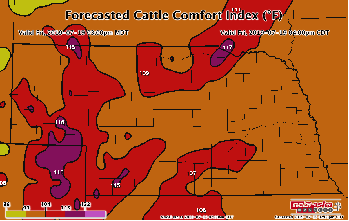 cattle comfort index for Friday July 19, 4pm CST