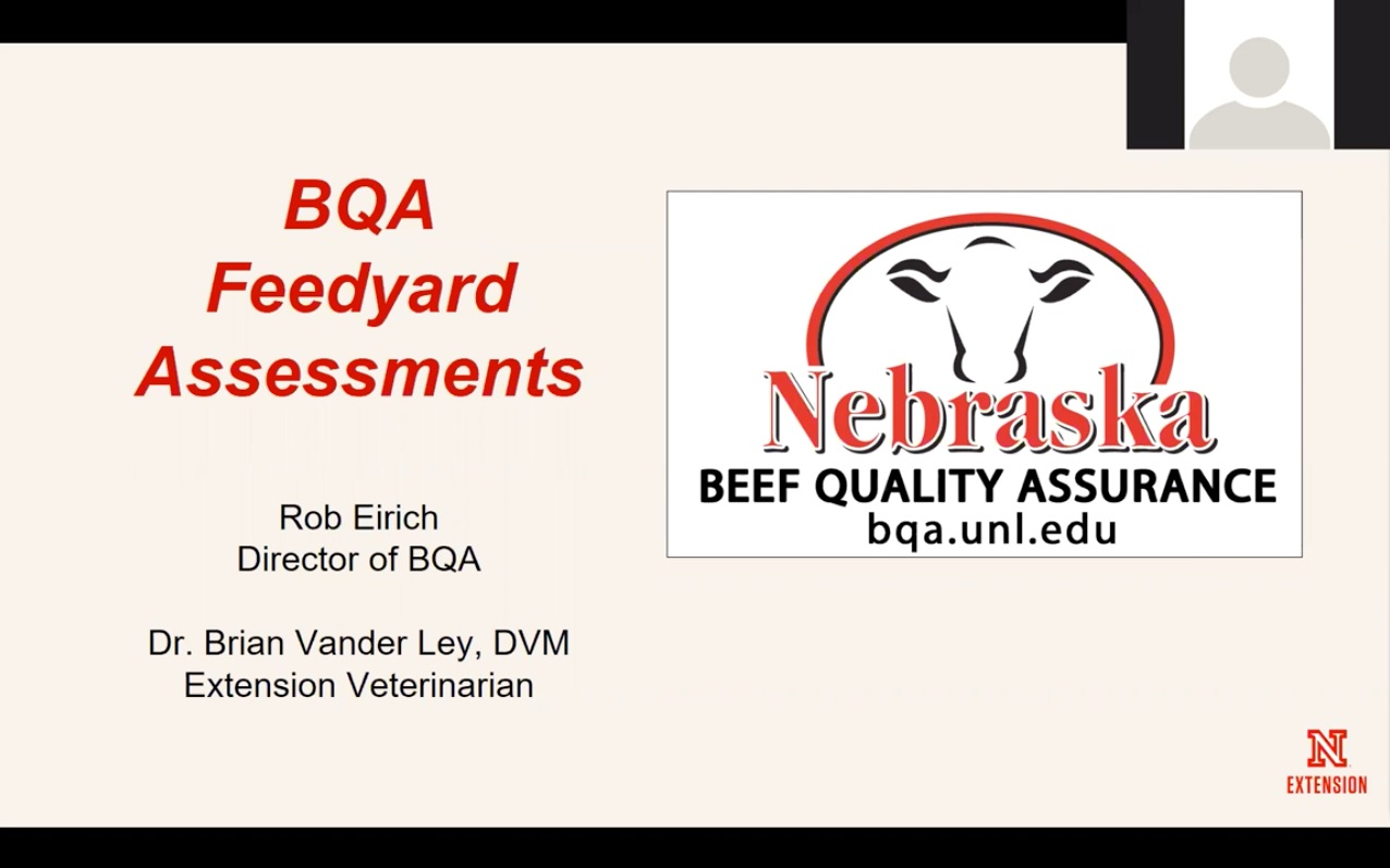 BQA Feedyard Assessments introduction slide from webinar
