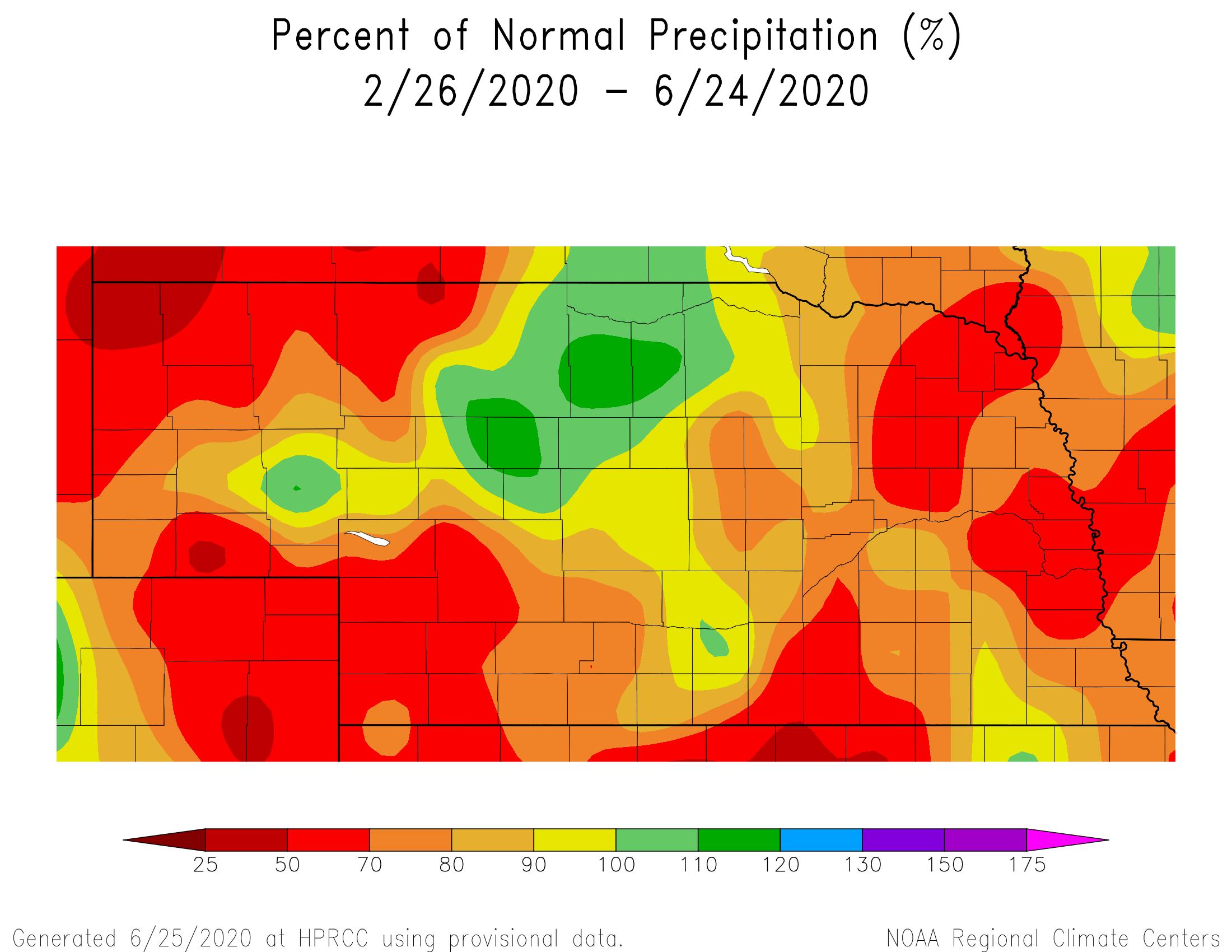 Percent normal precipitation