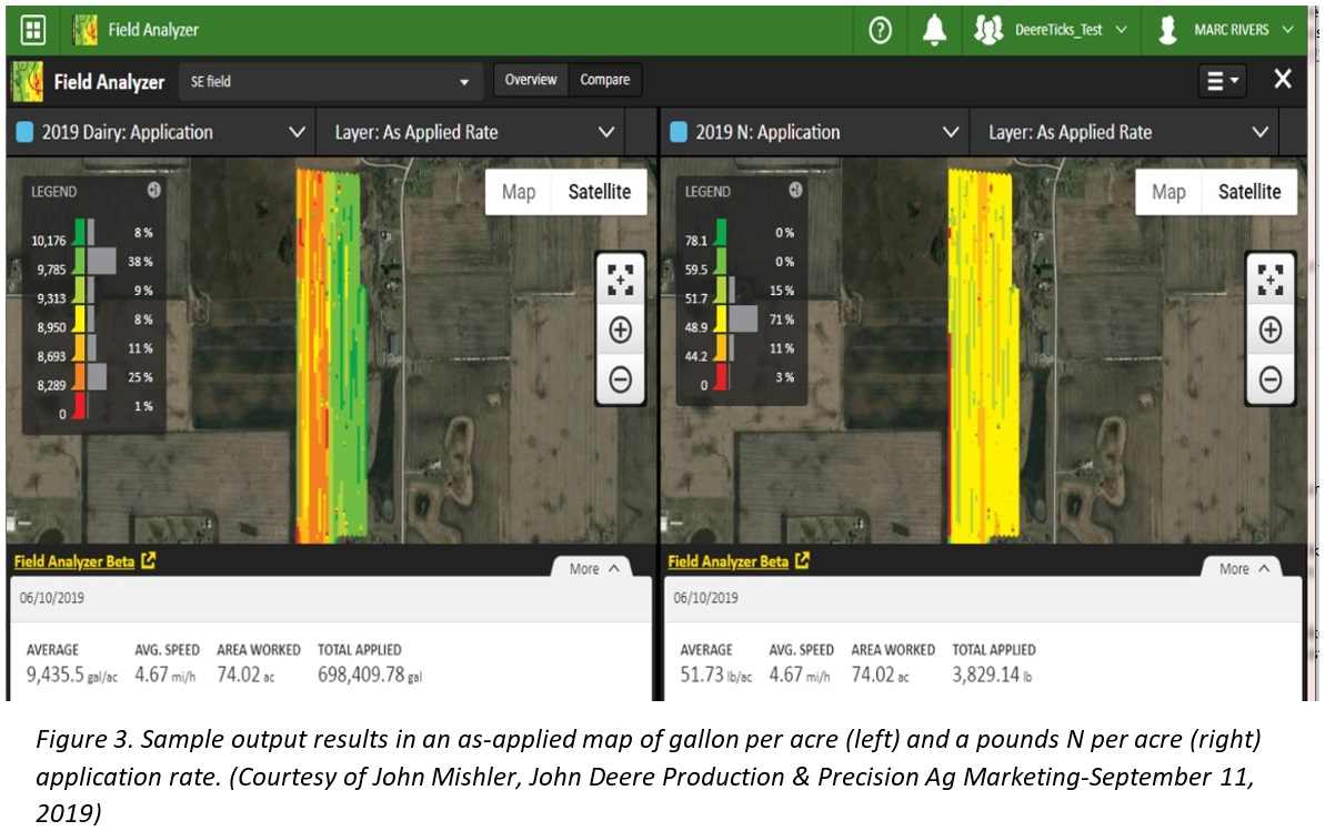 Figure 3 - Sample output results in an as-applied map of gallon per acre and a pounds N per acre application rate.