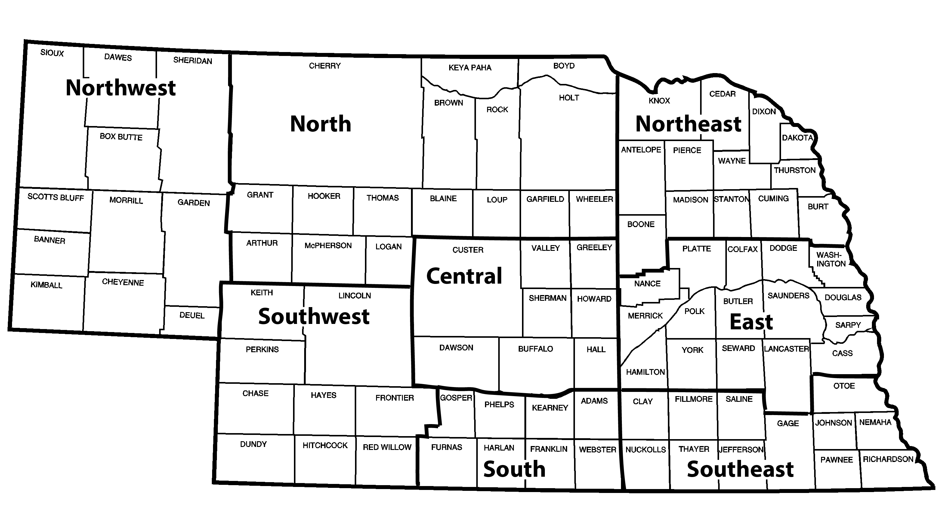 Nebraska map of districts