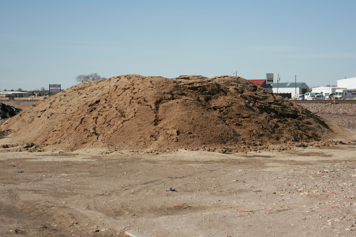sugarbeet pulp piled
