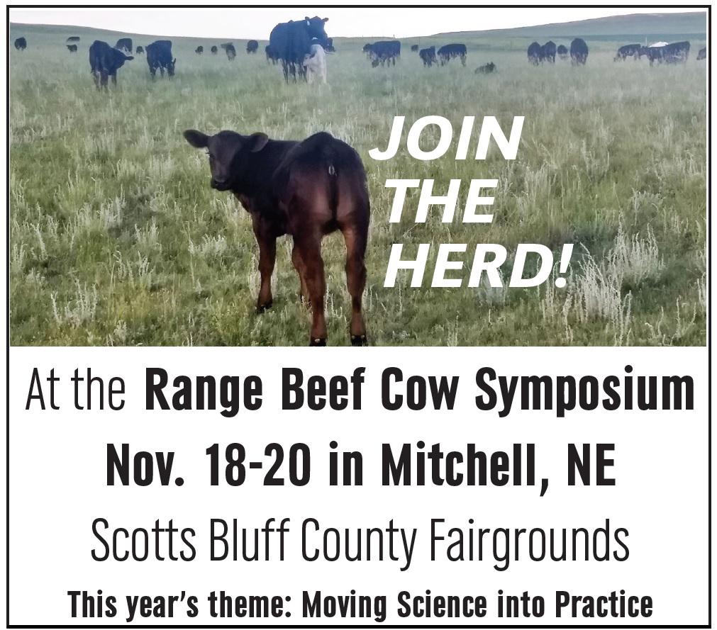 Range Beef Cow Symposium, November 18 to 20 in Mitchell, Nebraska