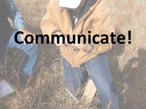 photo of ranchers in field with caption Communicate