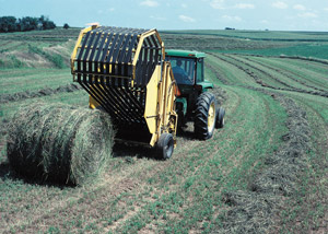 photo of baling alfalfa