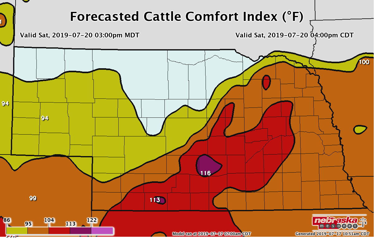 Cattle Comfort Index Forecast for 4pm (CDT) Saturday, July 20, 2019