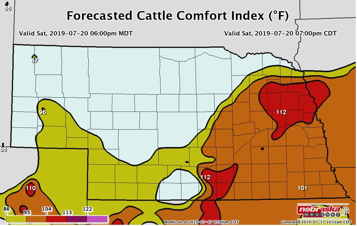 Cattle Comfort Index Forecast for 7pm (CDT) Saturday, July 20, 2019